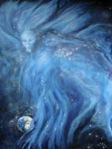 An ethereal blue figure fills the sky above Planet Earth, appearing to cradle it in one hand